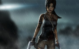 Preview wallpaper Tomb Raider, Lara Croft, rainy night