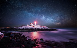 Preview wallpaper USA, Atlantic Ocean, island, lighthouse, light, sky, stars