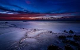 EUA, Havaí, oceano, costa, praia, crepúsculo