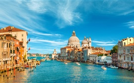 Preview wallpaper Venice, Italy, city, buildings, sea, boat, canal, sky, clouds