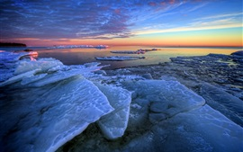 Preview wallpaper Winter, sea ice, morning, sunrise, blue