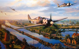 Aircraft, war, dogfight, art drawing Wallpapers Pictures Photos Images