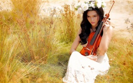 Preview wallpaper Asian girl, violin, music, summer, grass, white rose flowers