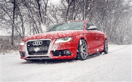 Audi S4 red car in snow winter