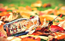 Preview wallpaper Autumn leaves, bottle, boat