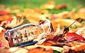 Aperçu fond d'écran Les feuilles d'automne, bouteille, bateau