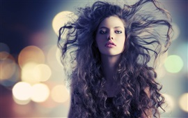 Beautiful fashion girl, hair flying