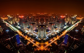 Preview wallpaper Beijing, China, night city skyline, buildings, lights