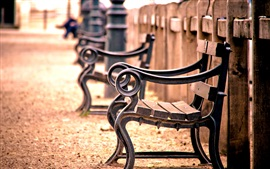 Preview wallpaper Bench, fence, railing, wood, blur