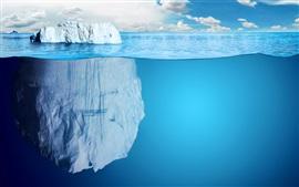 Синее море, большой камень, вода