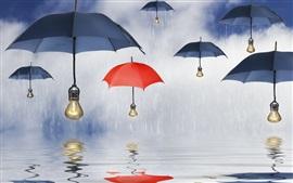 Blue umbrellas, parasols, lamps, rain, water, reflection