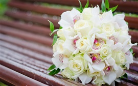 Preview wallpaper Bouquet flowers, white rose, orchids, bench
