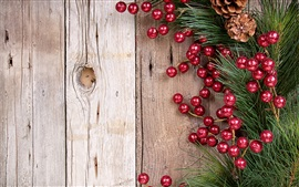 Preview wallpaper Branch, pine cones, red balls decoration, Christmas, New Year