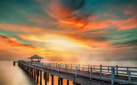 Bridge, pier, coast, sea, sunset