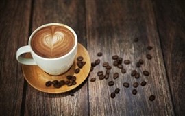 Preview wallpaper Coffee, cup, foam, drink, coffee beans, wood desktop
