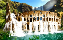 Preview wallpaper Colosseum, waterfall, mountains, greenery, nature landscape
