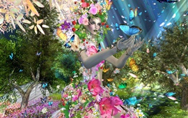 Preview wallpaper Creative design girl, butterfly, flowers, trees