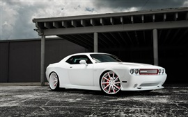 Dodge Challenger white muscle car