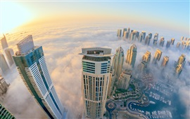 Dubai, city view, mist, skyscrapers
