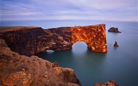 Preview wallpaper Dyrholaey Arch, Iceland, the Atlantic ocean, rock, coast