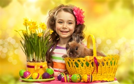 Preview wallpaper Easter eggs, cute girl, rabbit, flowers