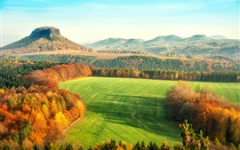 Preview wallpaper Elbe Sandstone Mountains, Germany, autumn, hills, trees, fields, yellow