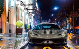 Ferrari 458 Speciale supercar at night street, Paris, France