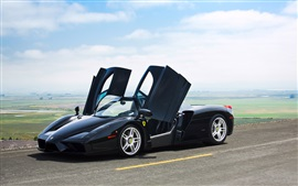 Preview wallpaper Ferrari Enzo black color supercar, doors opened