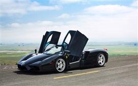 Aperçu fond d'écran Ferrari Enzo couleur noire supercar, portes ouvertes