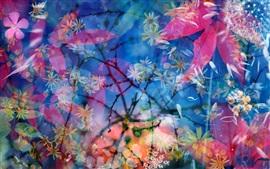 Цветы, красные листья, синий фон, красивые пейзажи