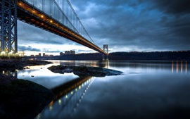 George Washington Bridge, Nueva Jersey, Manhattan, Río Hudson, por la noche