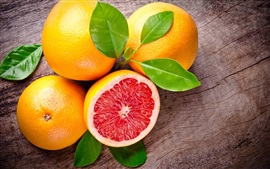 Grapefruit, fruit, leaves, red, orange
