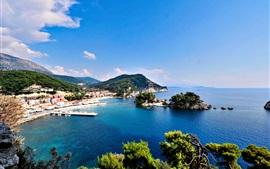미리보기 배경 화면 그리스, 바다, 섬, 해안, 도시