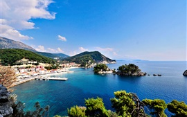 Grécia, mar, ilhas, costa, cidade