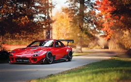 Preview wallpaper Mazda RX-7 red supercar, autumn