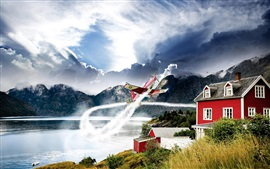 Preview wallpaper Mountains, nature, lake, house, plane