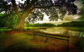 Preview wallpaper Nature landscape, autumn, trees, forest, lake, benches