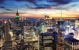 New York City, USA, skyscrapers, houses, night, lights, sunset Wallpapers Pictures Photos Images