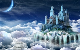 Preview wallpaper Night, castle, fairy tale, clouds, creative design
