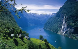 Norway landscape, fjord, mountains, river, ship, house, waterfalls