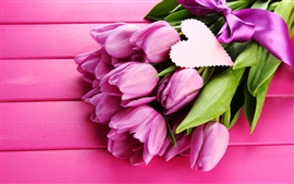 Preview wallpaper Pink tulips, flowers, ribbon