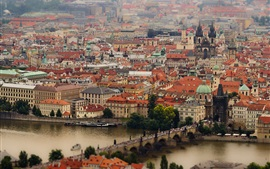 Prague, Czech Republic, Charles Bridge, Vltava River, buildings