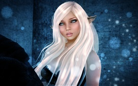 Rendering fantasy girl, elf ears, white hair, face, eyes, freckles