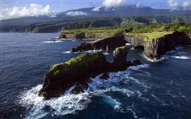Costa rocosa, Océano Pacífico, Maui, Hawaii