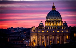 Preview wallpaper Rome, Italy, Cathedral, architecture, city, night, sky