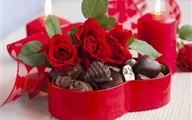 Preview wallpaper Rose flowers bouquet, candy, chocolate