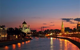 Preview wallpaper Russia, city, Moscow, river, sunset