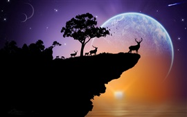 Silhouette, deer, planet, sky, stars, trees, rock, sunset, creative
