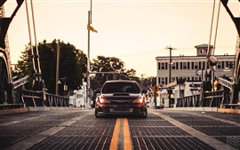 Preview wallpaper Subaru Impreza STI car, bridge, dusk