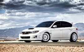 Preview wallpaper Subaru Impreza STI white car